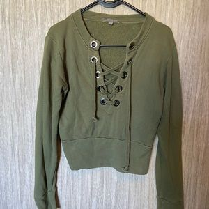 Olive cropped American Eagle sweater